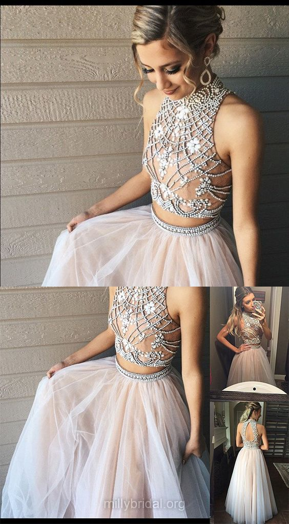 High Neck Two Piece 2018 Prom Dresses