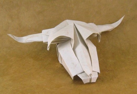 Origami Cows Skull By Roman Diaz Wet Folded From A Square Of Elephant Hide Gilad Aharoni On Giladorigami
