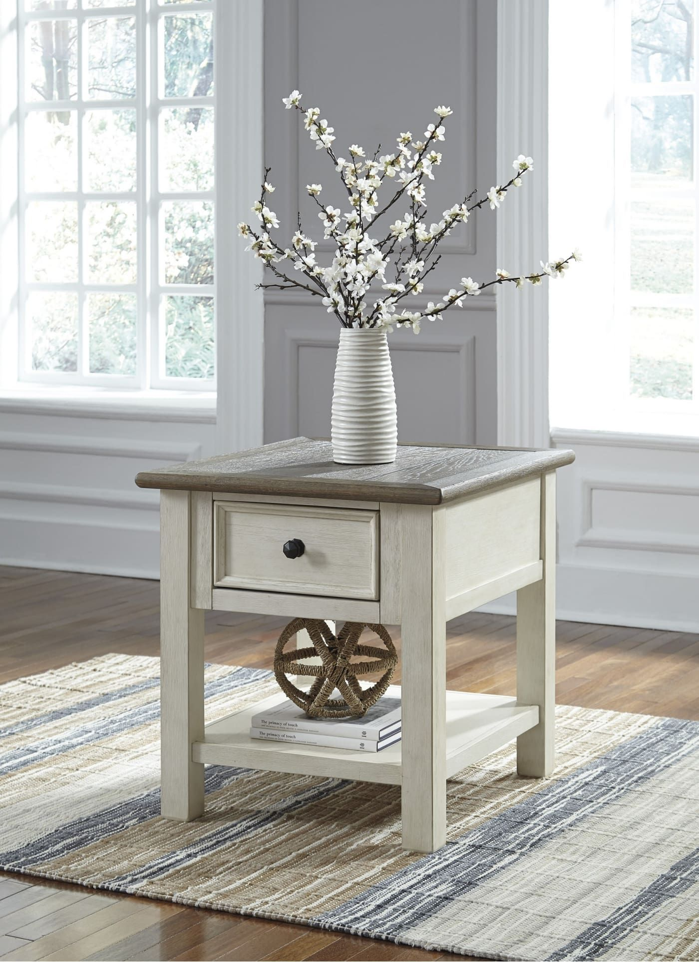 Signature Design By Ashley Bolanburg Two Tone Rectangular End Table T637 3 Goedekers Com Table Decor Living Room Living Room End Tables Farmhouse End Tables
