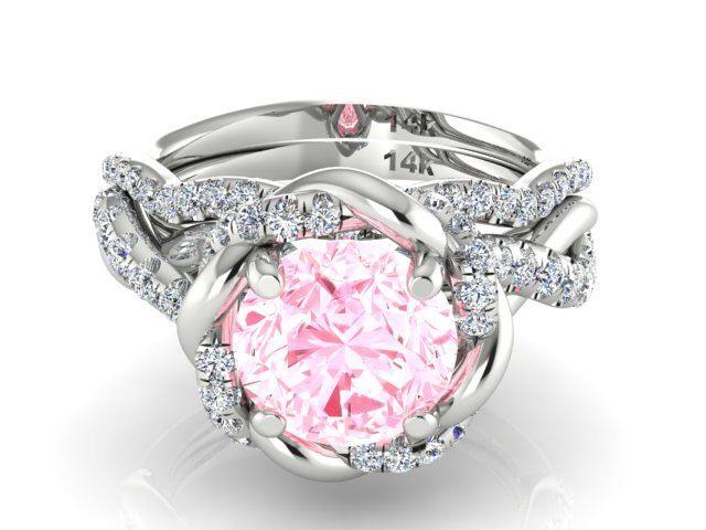 Wedding and Engagement Ring Set Natural Morganite and Diamonds