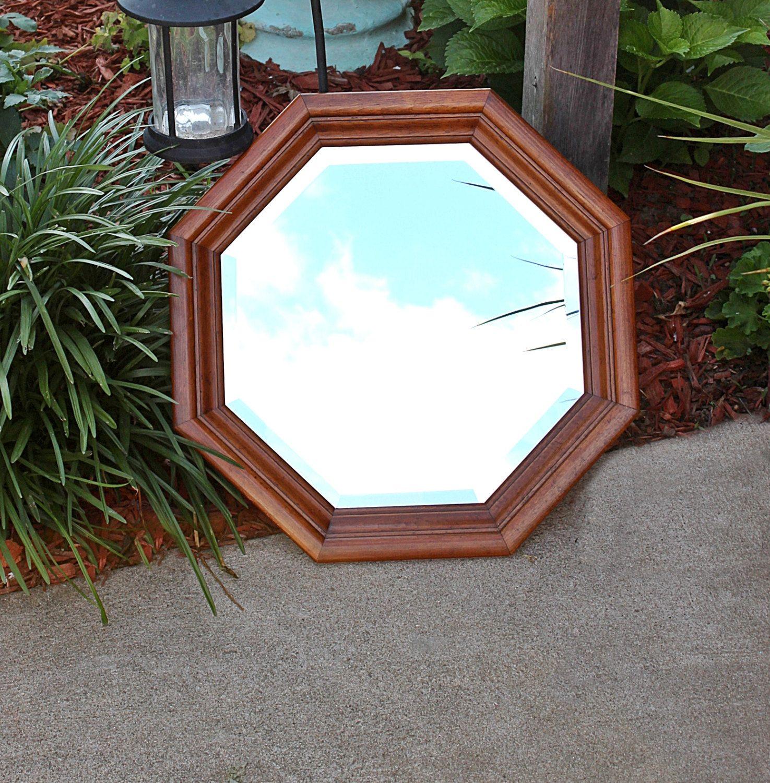 Vintage round bevelled edge solid oak wooden wall mirror vintage round bevelled edge solid oak wooden wall mirror octagon mirror excellent amipublicfo Choice Image