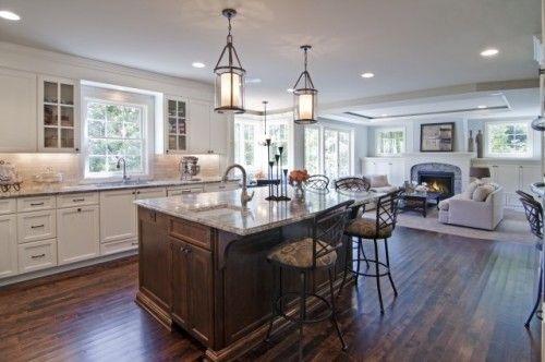 Opposing Sofa Family Room Open Kitchen Into Family Room Kitchen