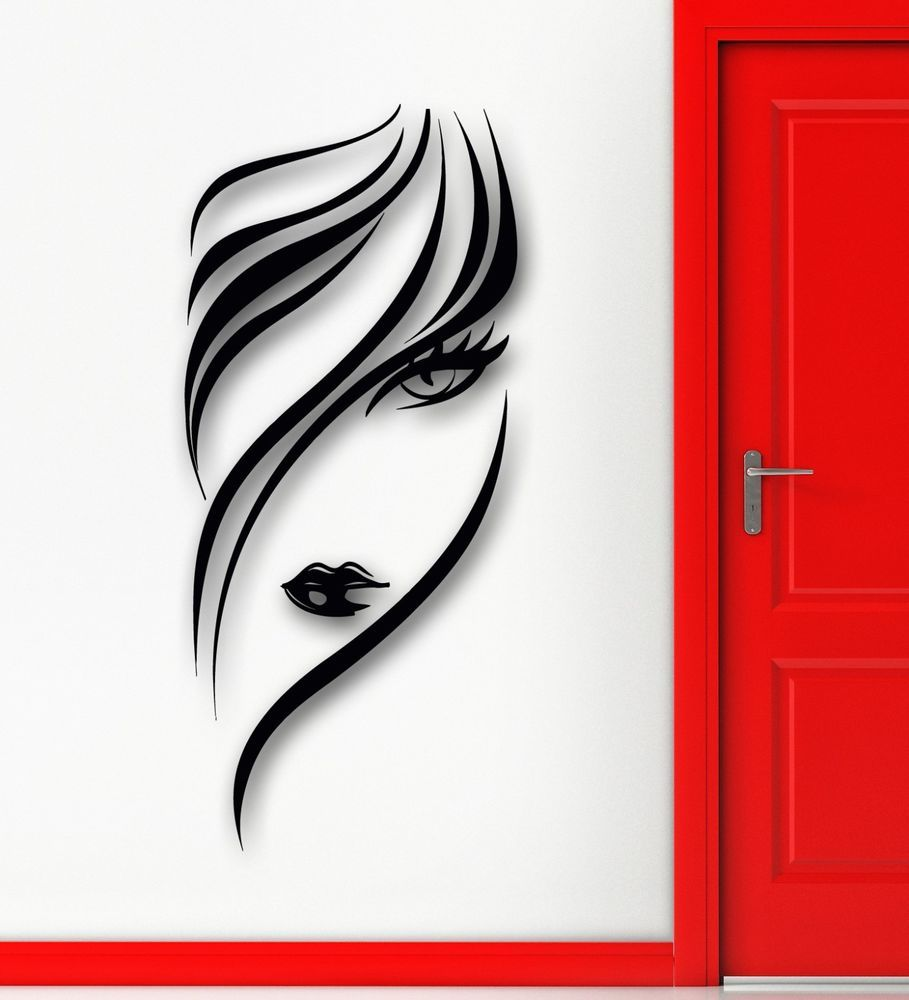 details about vinyl decal hairstyle sexy girl hairdressing. Black Bedroom Furniture Sets. Home Design Ideas
