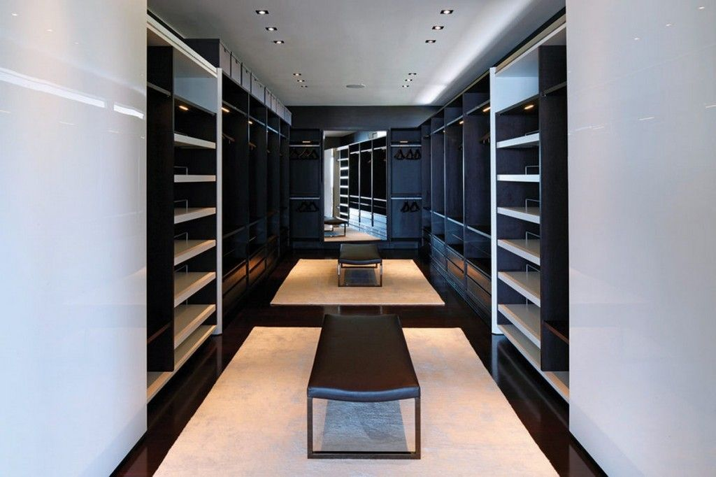 Walk In Closet Design With Wardrobe Storage And Clothes Also Brown Modern Leather Bench Large Mirror Panels Strikingly Luxurious Laurel Way