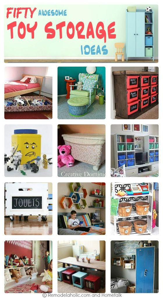 50 Organizing Ideas For Every Room In Your House: 50 Awesome Toy Storage Ideas Via Remodelaholic.com #kids