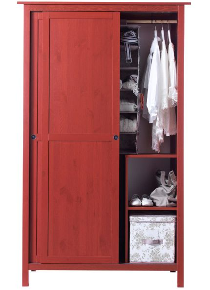 Hemnes Red Wardrobe With 2 Sliding Doors Storage Solutions