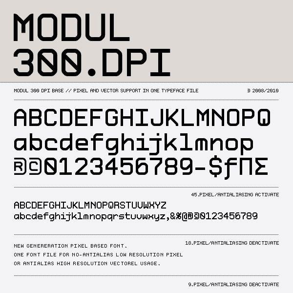 Modul 300 Dpi Pixel Based Font