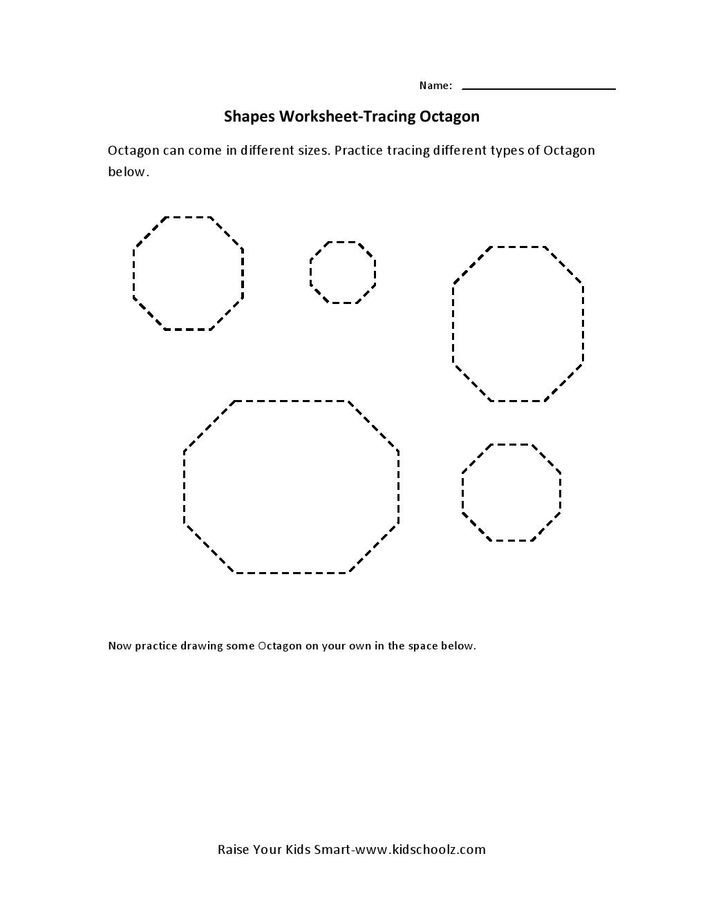 Tracing Worksheets Octagon Shapes Worksheets Tracing