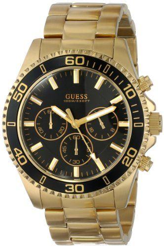 a7a96adfd GUESS Men's U0170G2 Gold-Tone Sportwise Chronograph Watch GUESS,http://www