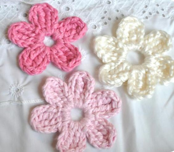 Crochet Flowers 1 Ch 6 Sl St Into 1st Ch To Form A Ring 2 Ch 3