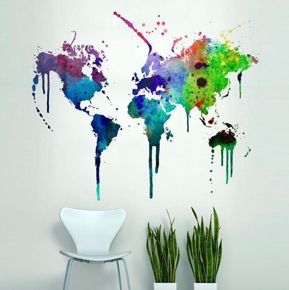 World Map Watercolor Decal Watercolor World Map Wall Sticker - Wall decals map