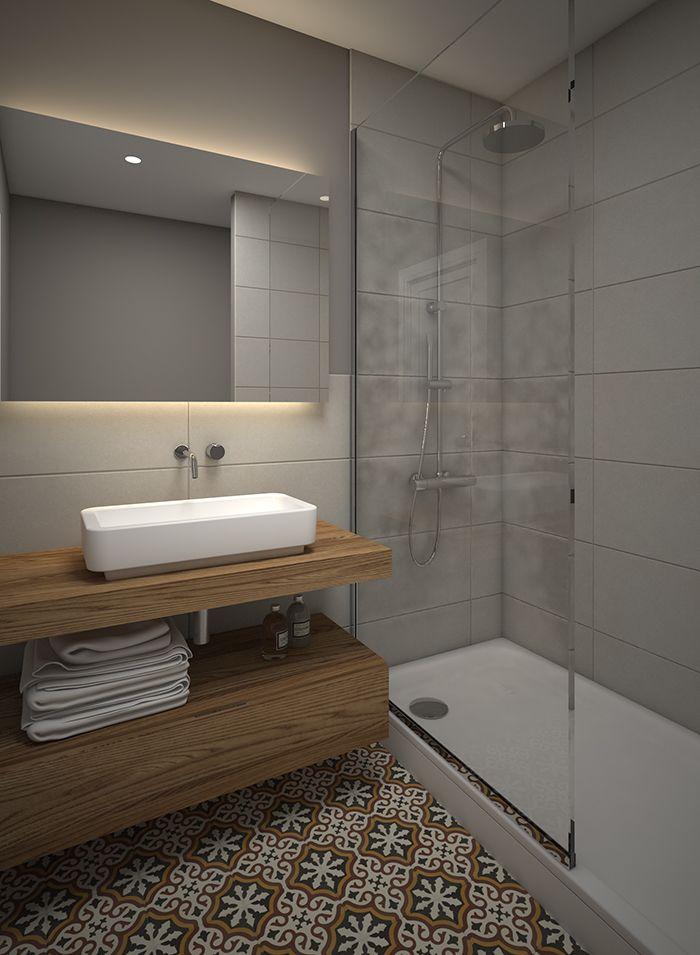 Ba o combinado con piso de mosaico antiguo y revestimiento for Decoracion piso moderno