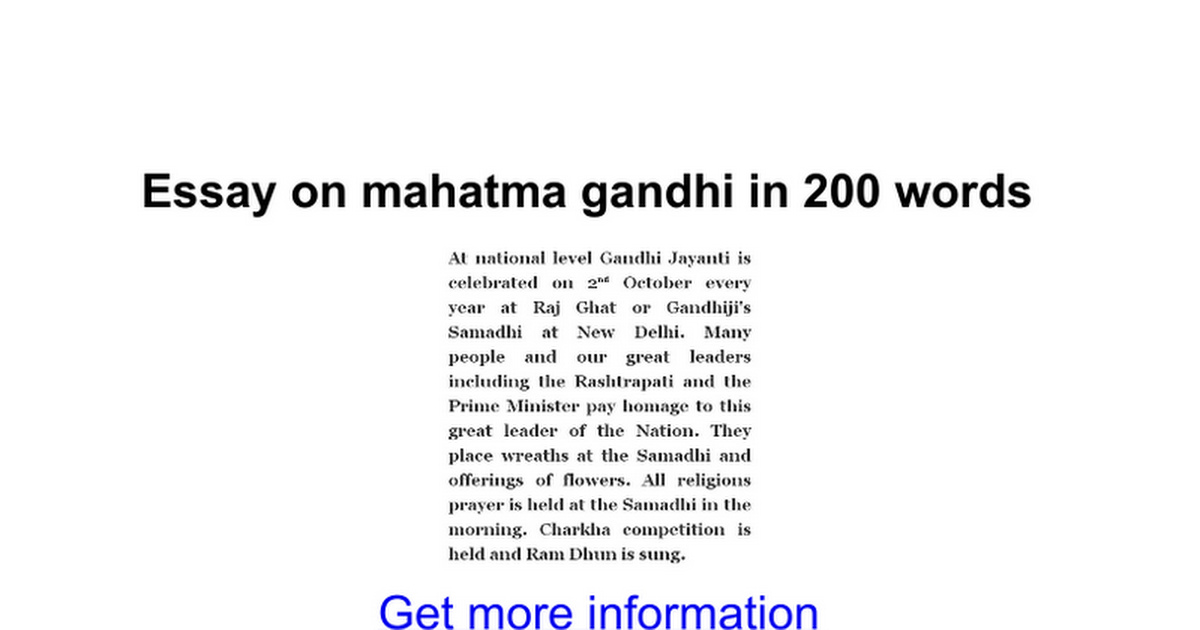 Merveilleux Short Essay On Mahatma Gandhi In English For Kids   Vision Professional