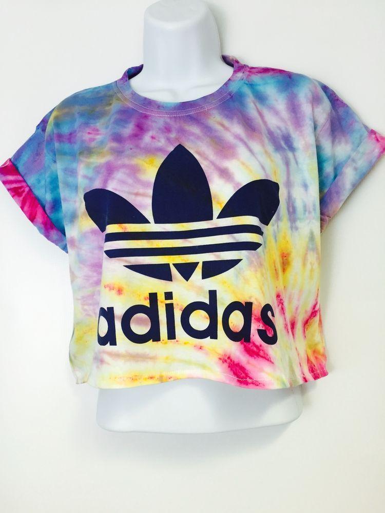 f900ac864bdcd New Reworked Tie Dye ADIDAS ORIGINALS Crop Top T-Shirt M Festival ...