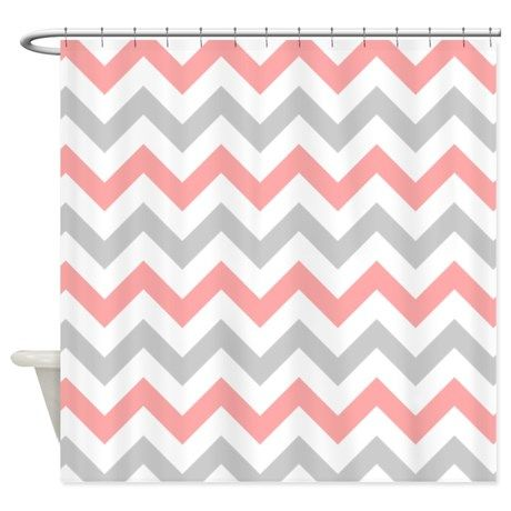 Coral And Grey Chevron Shower Curtain By Admin Cp49789583 Coral