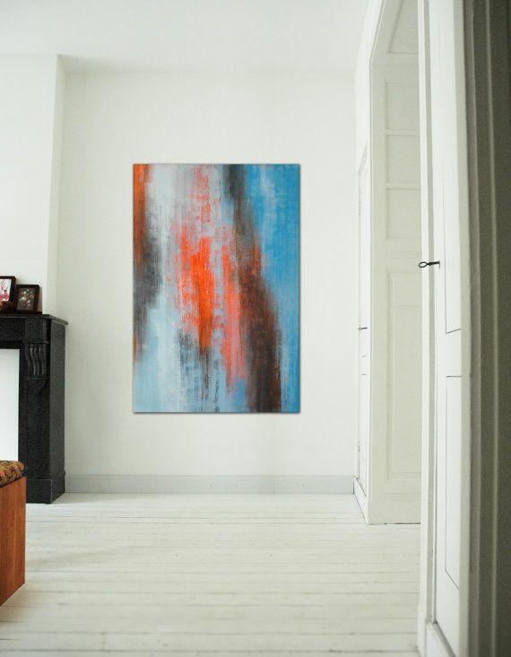 Large Abstract Schilderij Orange Haze Acrylic door RonaldHunter ...