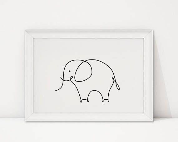 Minimalist Elephant Drawing: Pin On ART