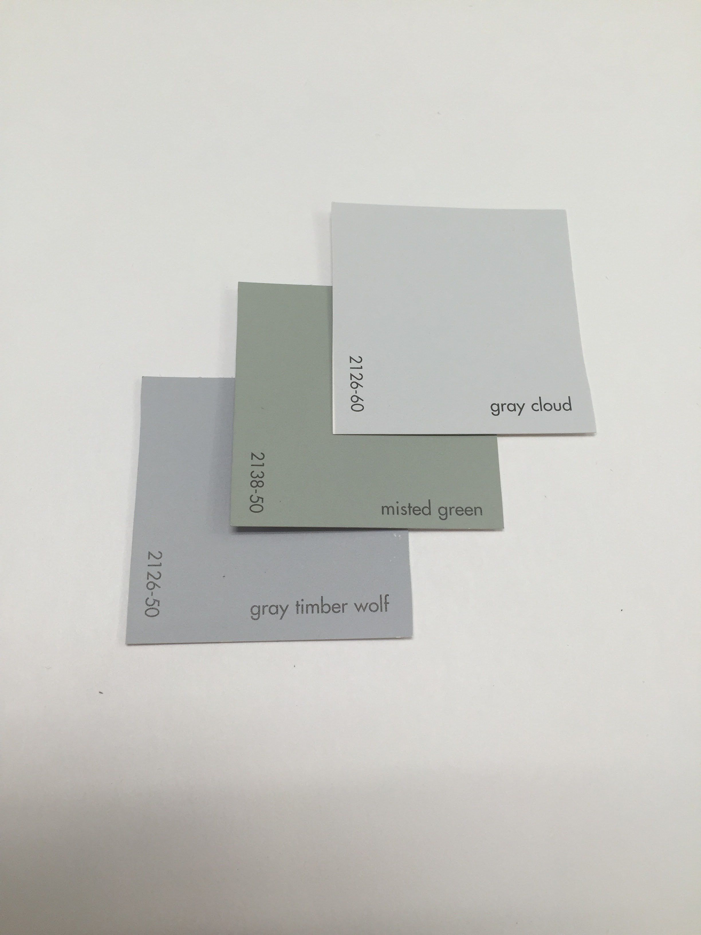 Gray cloud 2126 60 misted green 2138 50 gray timber wolf Green grey paint benjamin moore