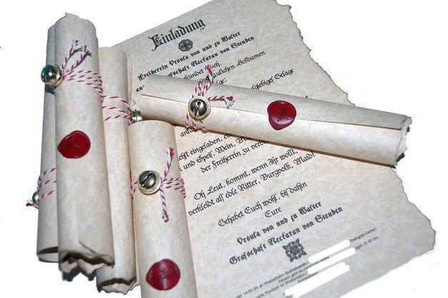 10x Einladung Mittelalter Hochzeit Geburtstag Dank Von Kartenboutique Auf  DaWanda.com