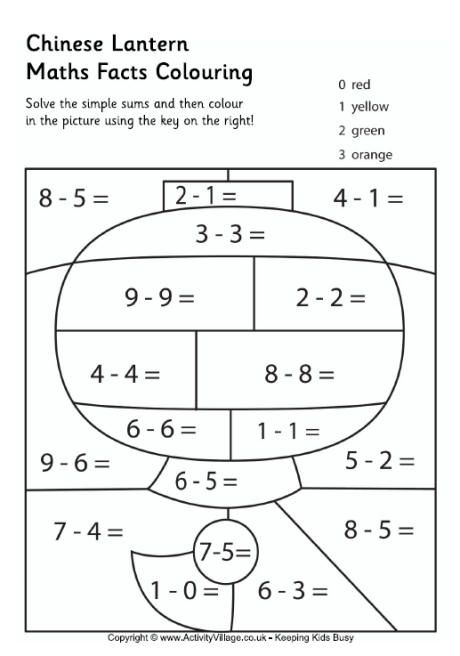 Chinese Lantern Maths Facts Colouring Page Math Facts Math