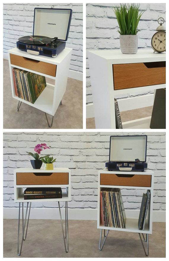 Modern Nightstand Record Player Stand Bedside Table White