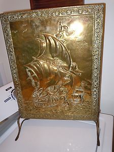 Antique Brass Ship Fireplace Hearth Screen Nautical Maritime Vintage