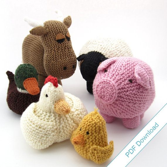 Knitting Patterns Ebook Farm Animal Toys Around The Barnyard