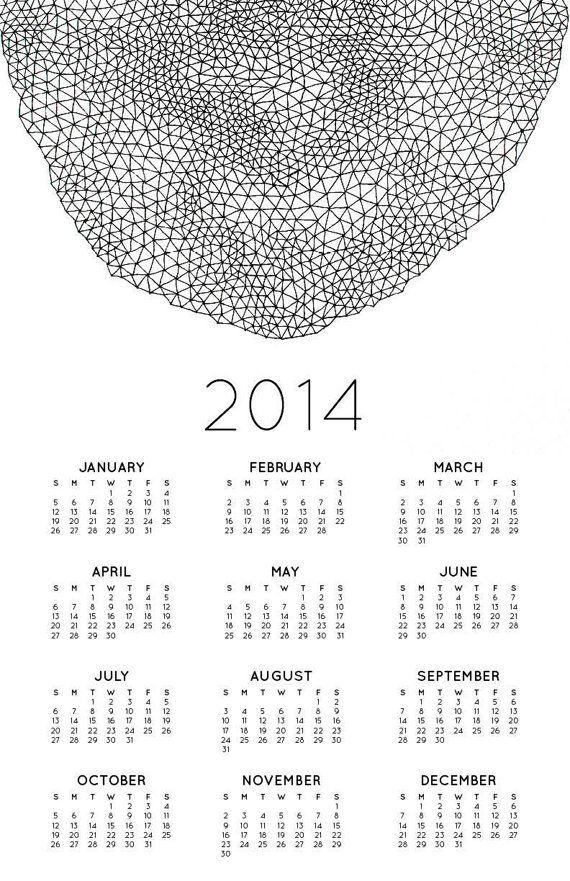 Abstrakte Kunst2014Wandkalender in schwarz und von BrownBearStudio, $20.00