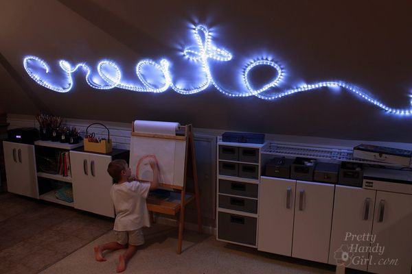 How to Create Rope Light Word Wall Art   Light words ...