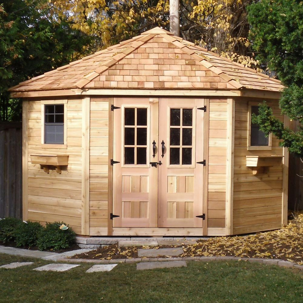 Penthouse Cedar Garden Shed PEN99 At The Home Depot