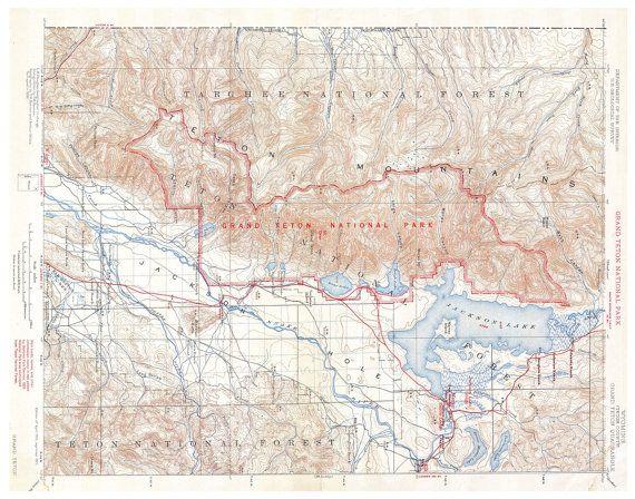 Printable Map Of Grand Teton National Park Wyoming Vintage