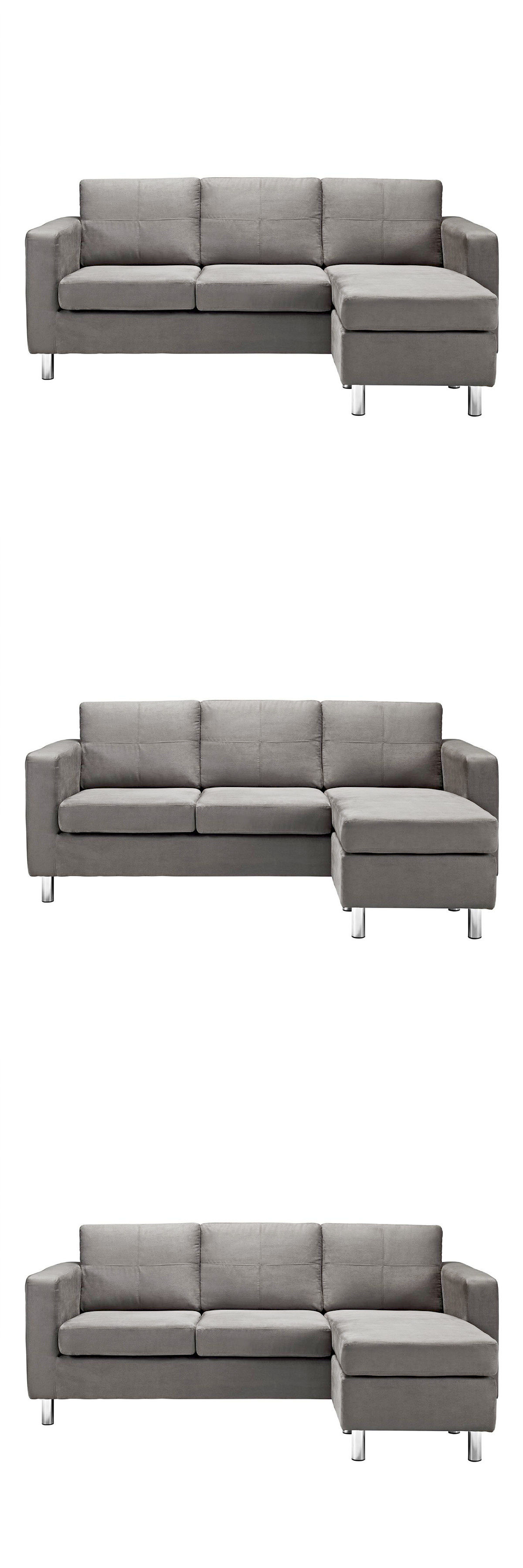Sofas Loveseats and Chaises Modern Configurable Light Grey