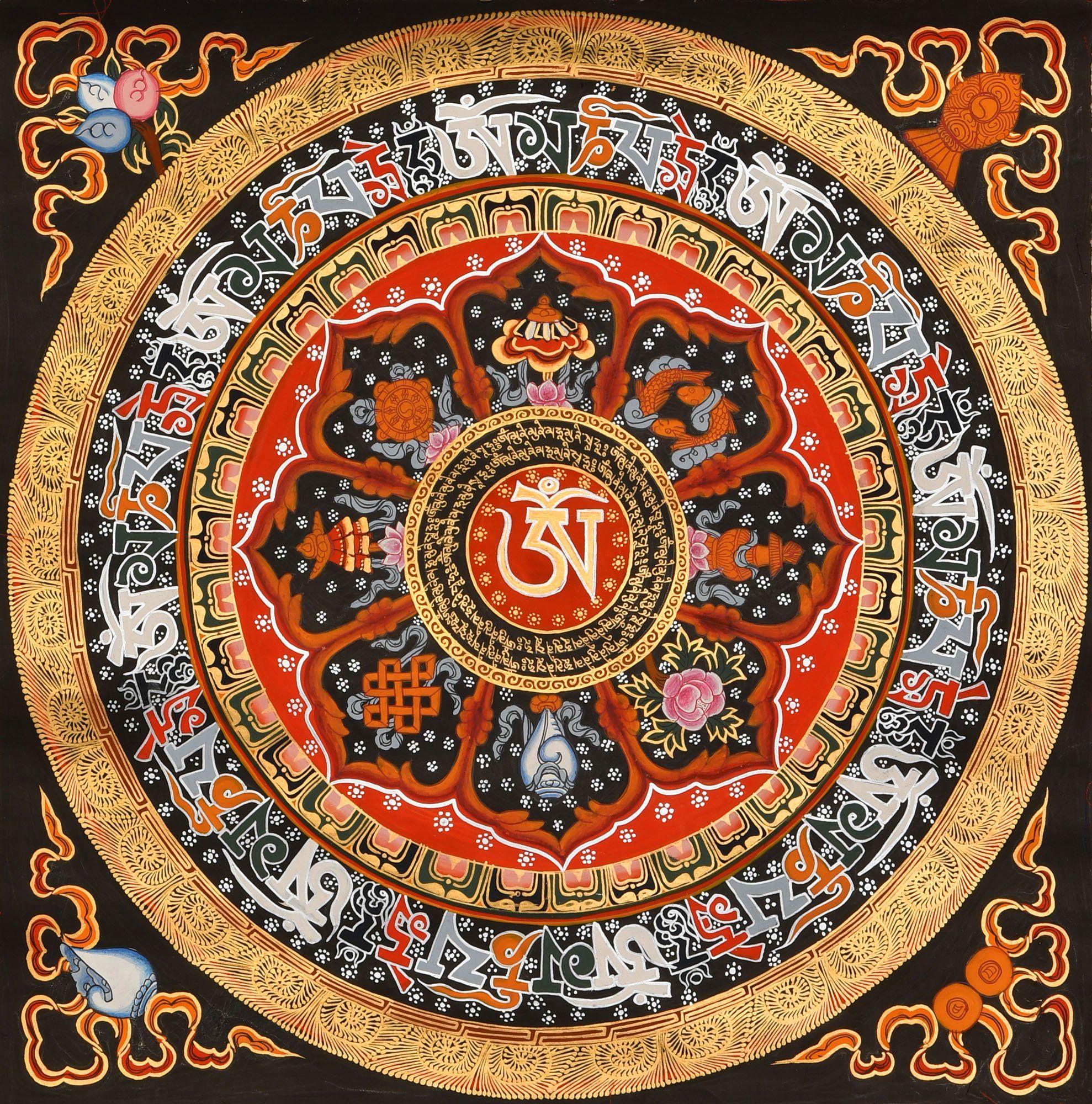 Tibetan Buddhist Om, Om Mani Padme Hum and Ashtamangala Mandala ...