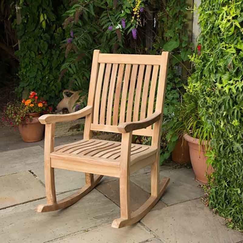 Teak Rocking Chair Garden Solid Wood Seat Outdoor