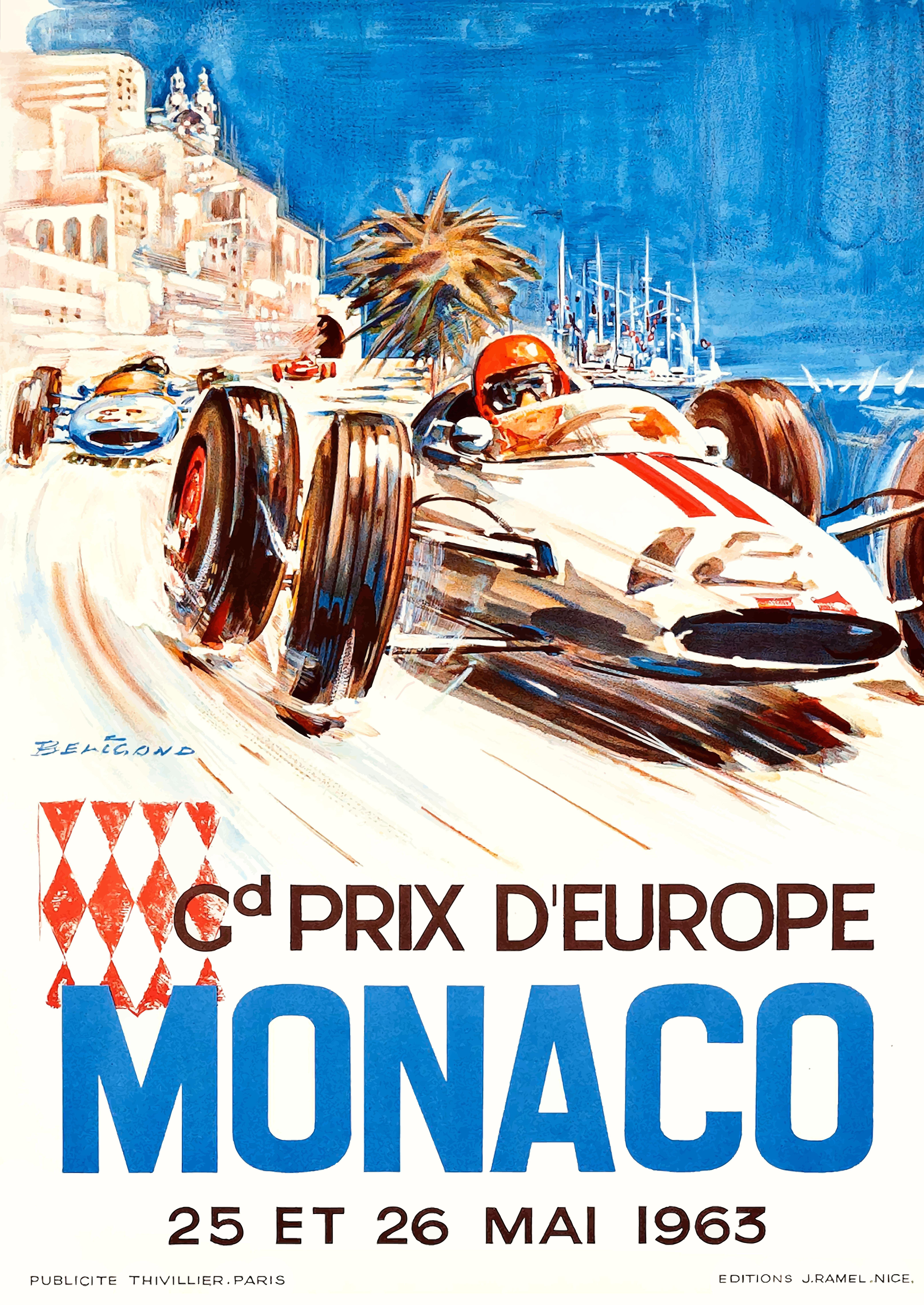 1963 Monaco Grand Prix Racing Poster By Retro Graphics With