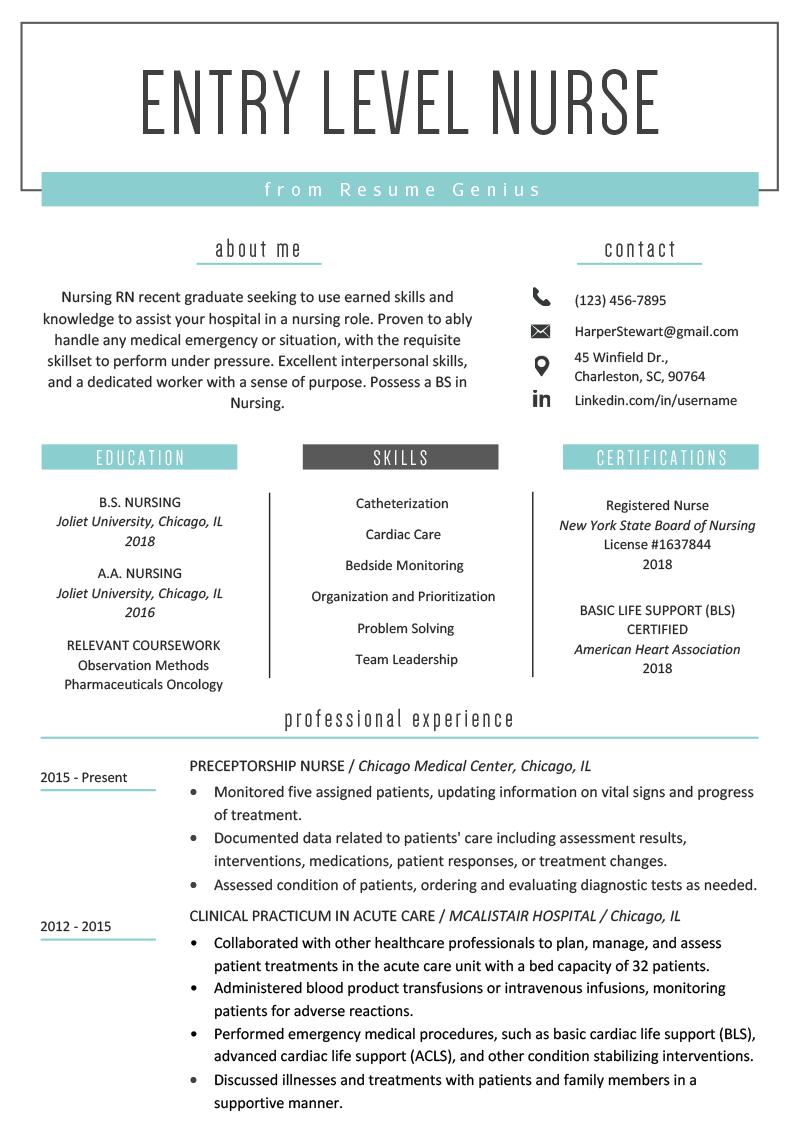 EntryLevel Nurse Resume Sample Registered nurse resume