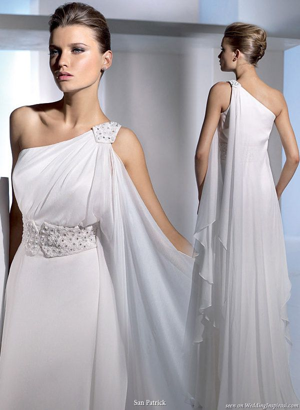 Greek style wedding dress | One shoulder Dress | Pinterest