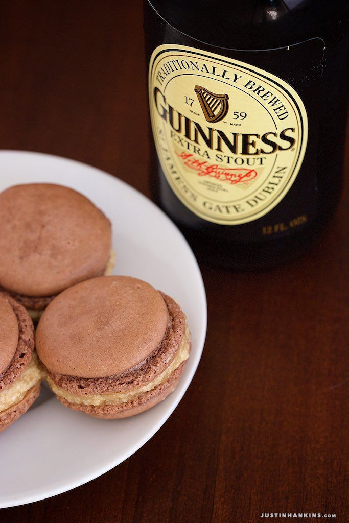 Macaron Recipe: Chocolate and Guinness stout buttercream. St. Patricks Day themed Macarons.