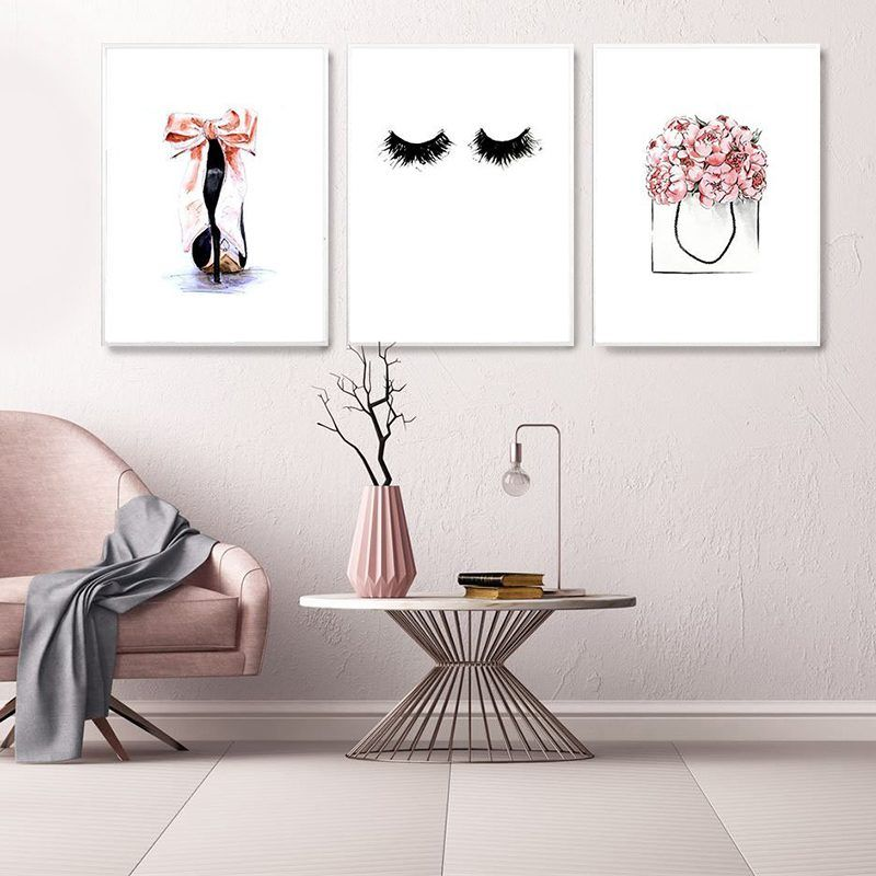 High Heel Wall Art Pictures For Girl Bedroom Decor Pink Canvas Painting Eye Lashes Posters And Prints Modern Home Decor Framed Pink Girls Bedroom Decor Girl Bedroom Decor Wall Decor Bedroom