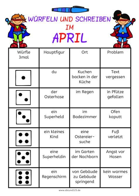 Würfeln und Schreiben im April, AFS-Methode, Arbeitsblatt, DAF, DAZ ...
