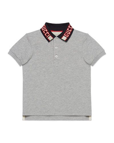 abe1ca035 Gucci Short-Sleeve Polo w/ Knit Logo Collar, Size 4-12 | Products ...