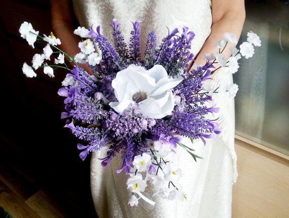 READY TO SHIP Lavender white wedding bouquet fake flowers, magnolia ...