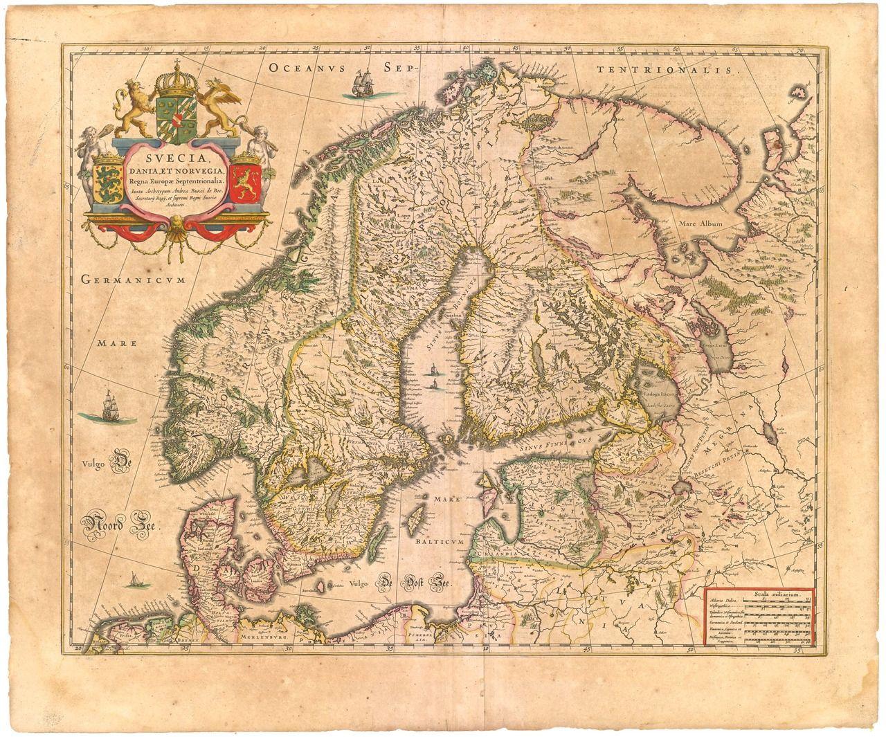 Scandinavia 1645 Map Vintage Maps Vintage Map