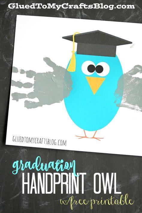 Graduation Handprint Owl w/free printable | Kindergarten graduation ...
