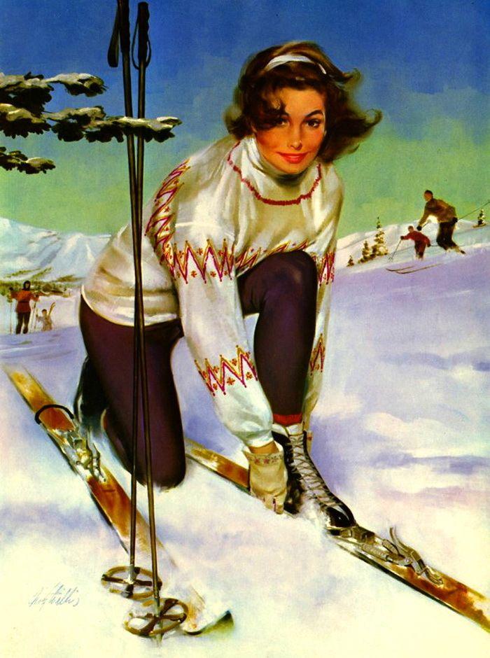Открытки с лыжниками