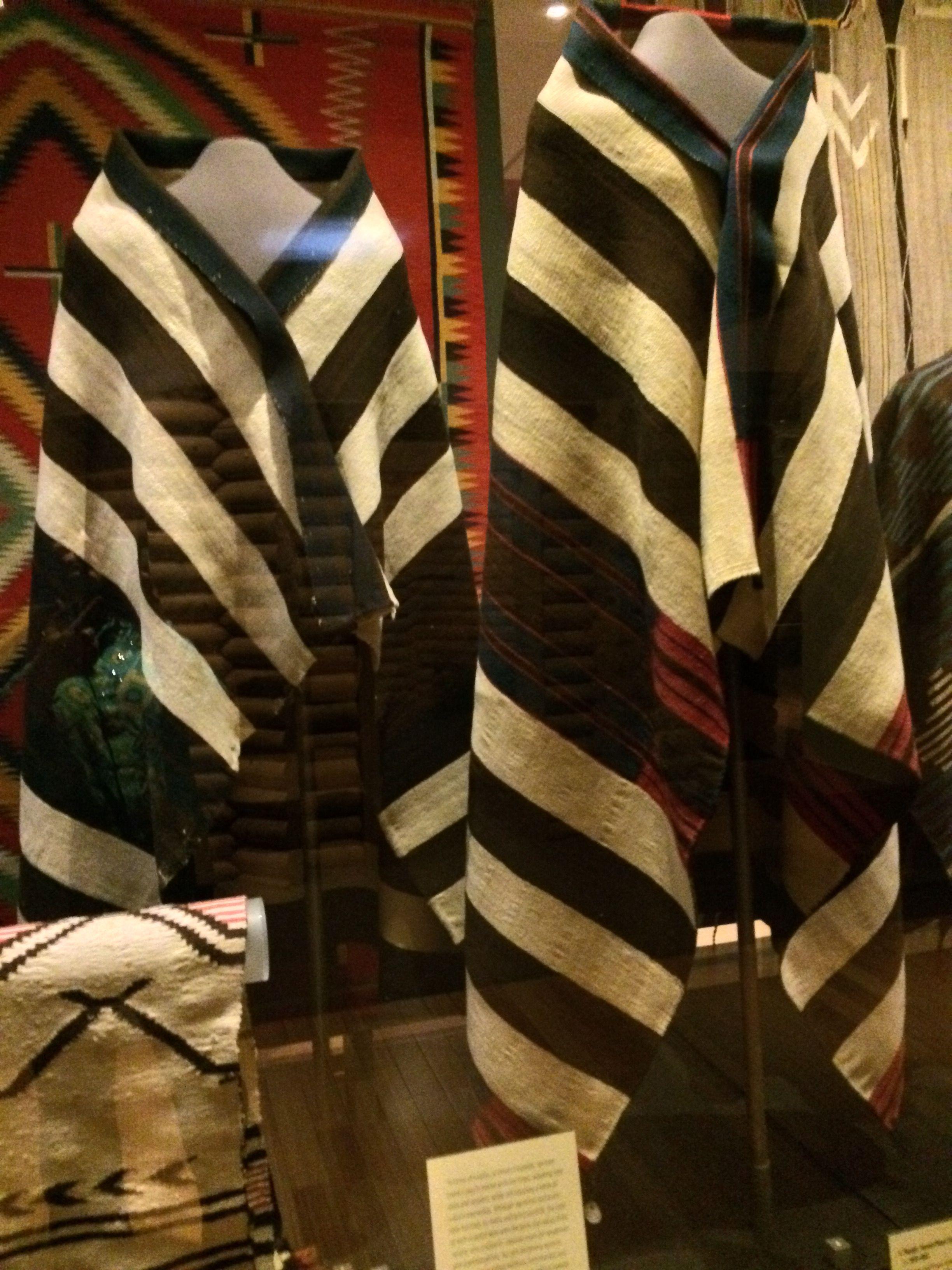 Navajo 1st phase chief's blanket (left) 1800-1850 and 2nd phase chief's blanket 1850-1865 (right) at the Heard Museum of Native American art in Phoenix, Arizona