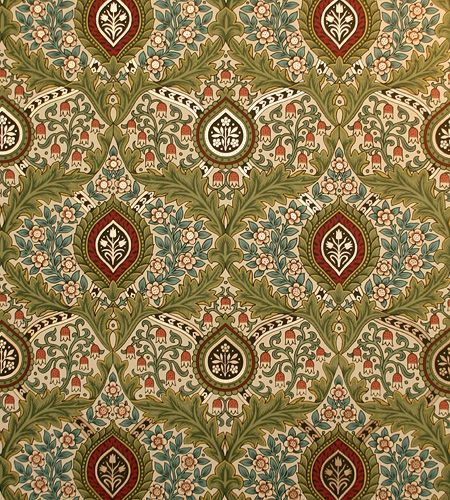 Knightsbridge damask wallpaper in Cream from the Morris