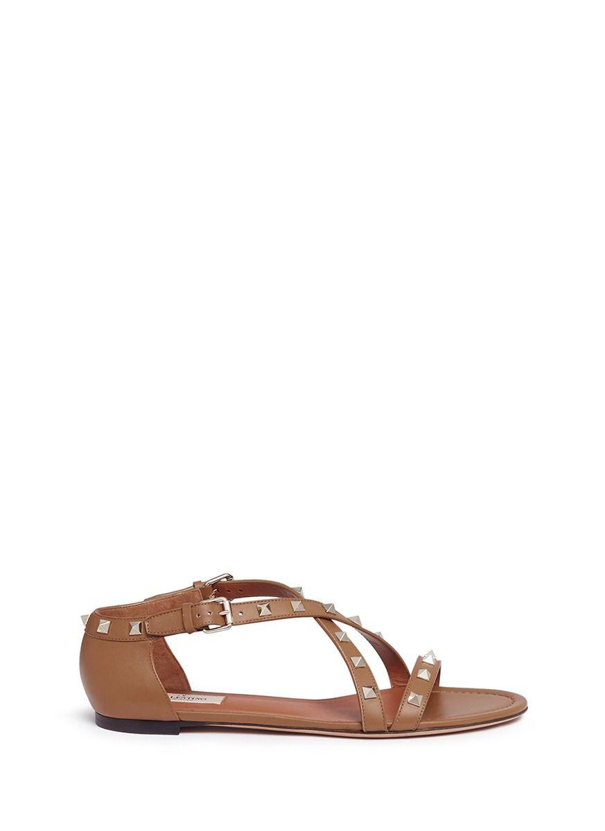 acbd455b97bb VALENTINO  Rockstud  Cross Strap Leather Sandals.  valentino  shoes  sandals