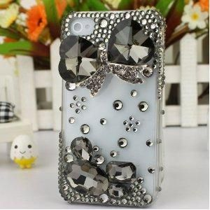 3D Bling Crystal iPhone Case for AT Verizon Sprint Apple iPhone 4/4S Crystal Bow Black