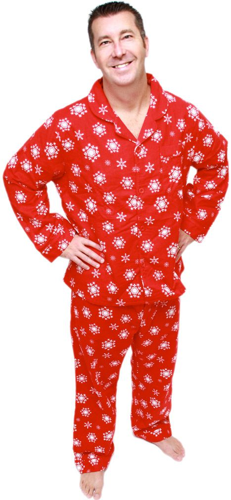 Men's Red Snowflake Classic Flannel Pajama by SleepytimePjs ...